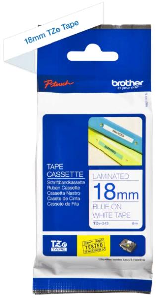 orig. Brother TZe243/TZe-243 Schriftbandkassette 18mm weiß/blau
