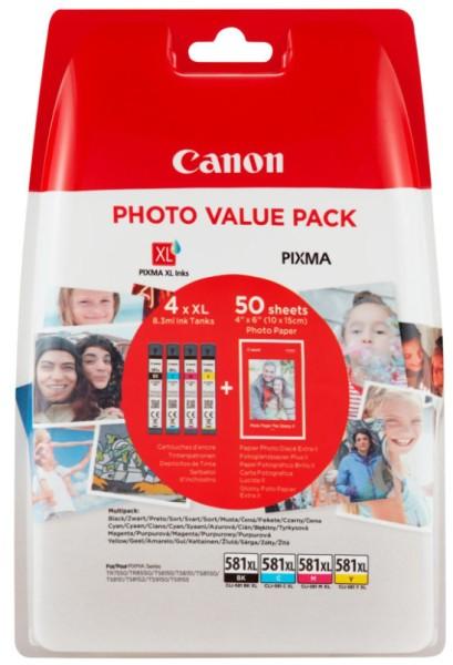 orig. Tintenpatrone Canon CLI-581XL Multi C/M/Y/BK + 50 Blatt PP-201 4x8,3ml für ca. 500 Seiten
