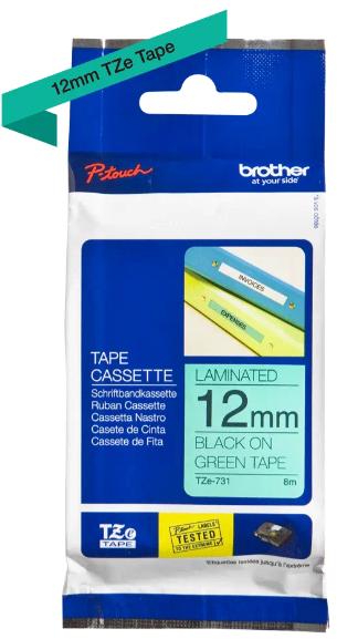 orig. Brother TZe731/TZe-731 Schriftbandkassette, 12mm schwarz/grün