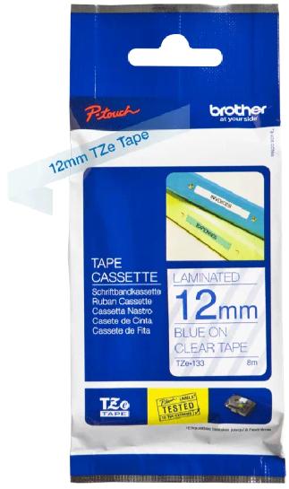 orig. Brother TZe133/TZe-133 Schriftbandkassette 12mm transparent/blau